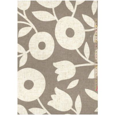 Curtain Fabric - Loose Weave - Swedish Floral Grey - 280cm Wide