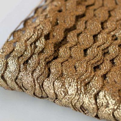 10mm Ric Rac Trim Gold Metallic