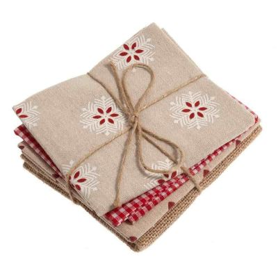 Linen Blend & Hessian - Natural / Red - 4 Fat Quarters