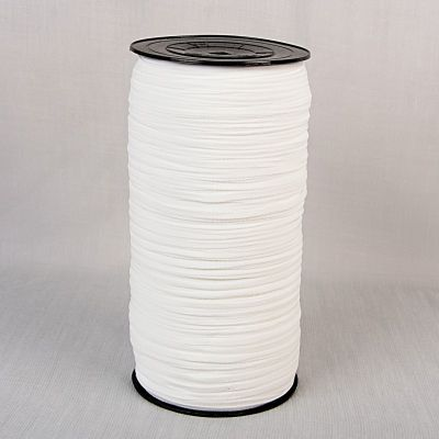 Face Mask Elastic - 5mm Wide - White Flat Band - Per Metre