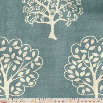 Remnant - Upholstery / Curtain Fabric - Forest Trees - Duck Egg - 55 x 147cm