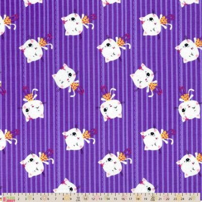 Little Darling - Cotton Fabric - Kitty Lines Purple