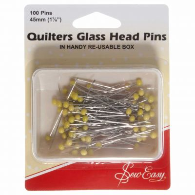 Sew Easy Glass Headed Pins 45mm 100pcs