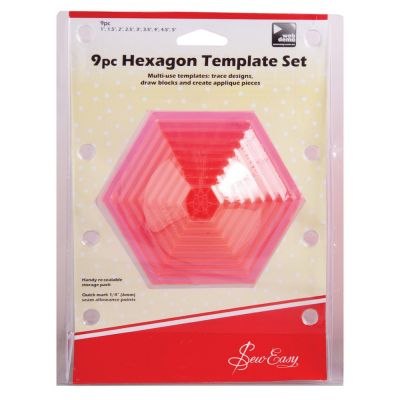 Sew Easy Patchwork 9 Piece Hexagonal Template Set