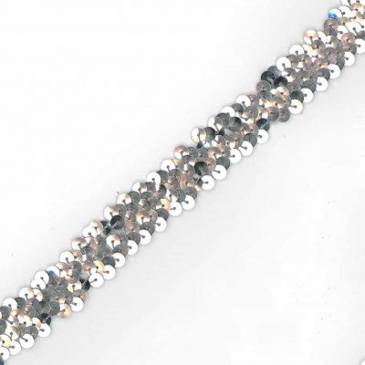 Sequins Stretch Trim - 20mm Wide Silver