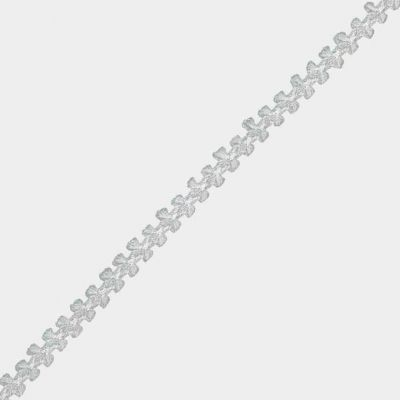 Braided Metallic 8mm Wide Trim - White/Silver