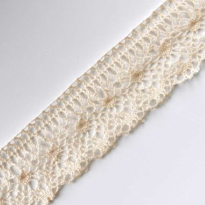 Scalloped Edge Classic Cotton Lace Trim 50mm Wide - Natural