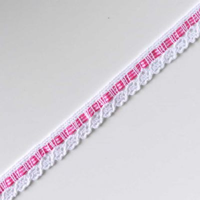 Cotton Lace Trim 15mm Wide - Woven With Bright Pink Gingham Ribbon