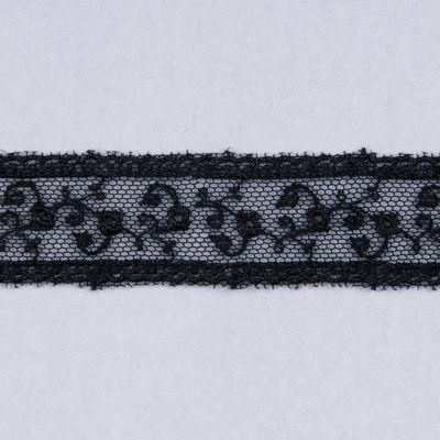 Embroidered Tulle Lace Trim 25mm Wide - Black