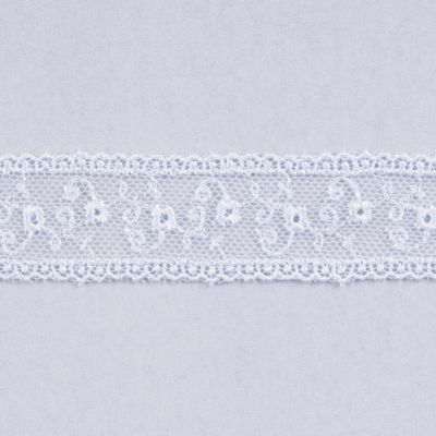 Embroidered Tulle Lace Trim 25mm Wide - White