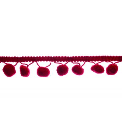20mm Pom Pom Trim Wine