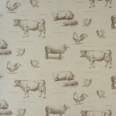Farm Animal Sketches - Curtain Fabric