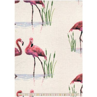 Cotton Fabric - Linen Look Canvas - Flamingos Wading On Natural