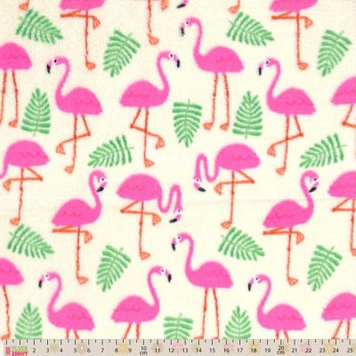 Cuddle Fleece Flamingos On Cream