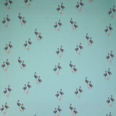 Stretch Cotton Spandex Jersey Knit - Flamingos On Aqua With Glitter