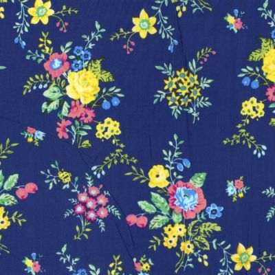 Regency Cotton Lawn Fabric - Floral Sprays On Blue