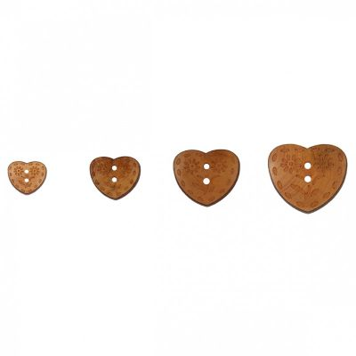 2 Hole Flower Engraved Wooden Heart Button - 4 Sizes