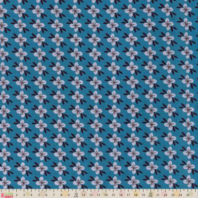 Fabric Freedom Retro Floral Small Flowers Turquoise Cut Length