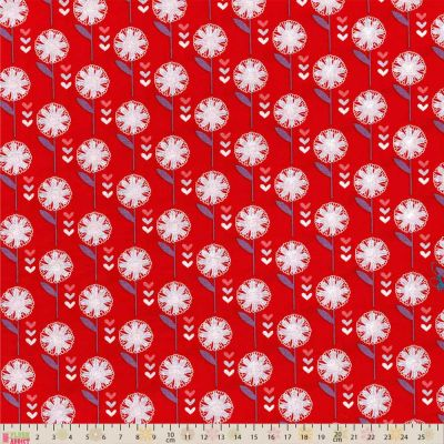 Fabric Freedom Retro Floral Daisy Red Cut Length