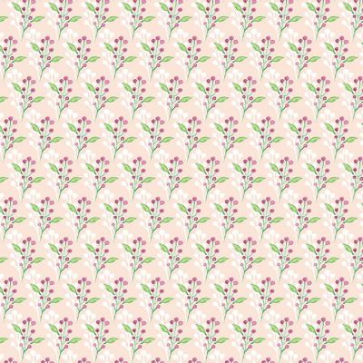 Fabric Freedom Watercolour Floral Flowers With Leaves Pink Cut Length