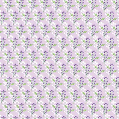 Fabric Freedom Watercolour Floral Flowers With Leaves Purple Cut Length