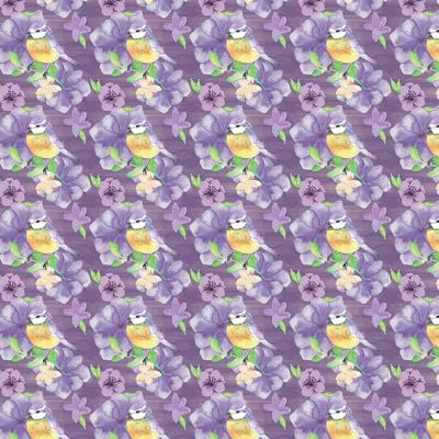 Fabric Freedom Watercolour Floral Birds And Flowers Small Purple Cut Length