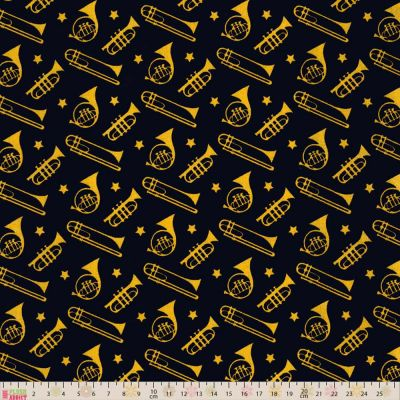 Fabric Freedom Sound Of Music Trumpets And Trombones Black Cut Length