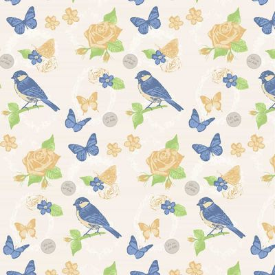 Fabric Freedom Birds And Butterflies Main Panel Blue Cut Length