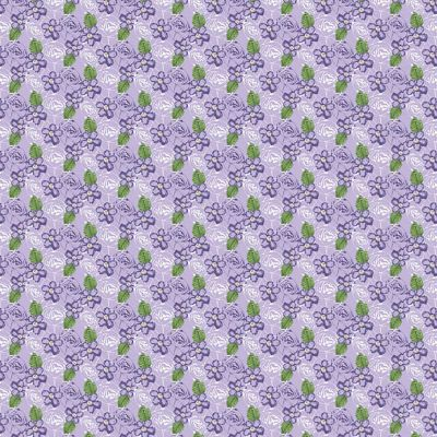 Fabric Freedom Birds And Butterflies Floral Purple Cut Length