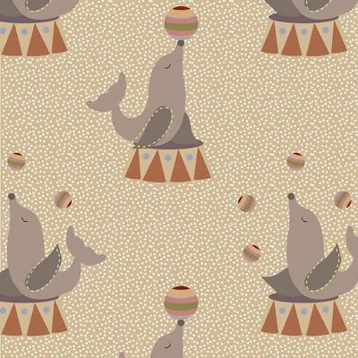 Fabric Freedom Circus Sealions Brown Cut Length