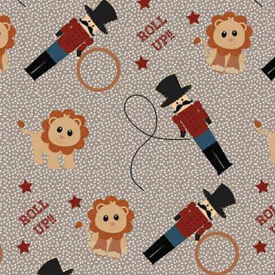 Fabric Freedom Circus RingMaster And Lions Brown Cut Length