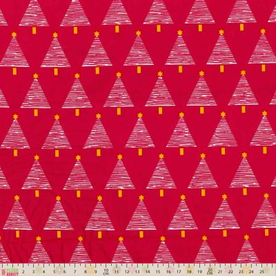 Fabric Freedom  Christmas Trees On Fuschia Cut Length