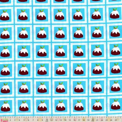 Fabric Freedom -  - Christmas Puddings On Blue