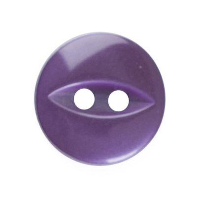 Round Fish Eye Button 2 Hole - Purple - 11mm / 18L