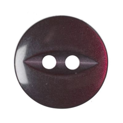 Round Fish Eye Button 2 Hole - Burgundy - 14mm / 22L