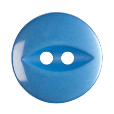 Round Fish Eye Button 2 Hole - Bright Blue - 14mm / 22L