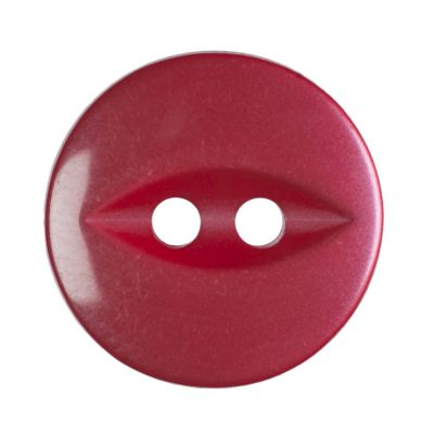 Round Fish Eye Button 2 Hole - Red - 14mm / 22L