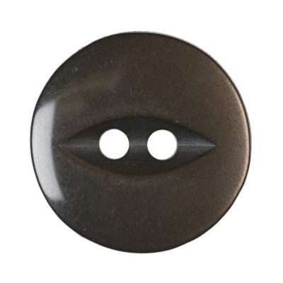 Remnant - 10 x Round Fish Eye Button 2 Hole - Brown - 16mm / 26L