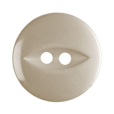 Round Fish Eye Button 2 Hole - Cream - 16mm / 26L