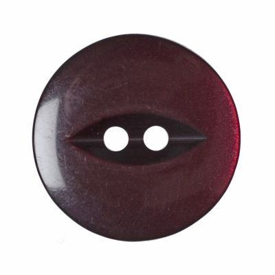 Round Fish Eye Button 2 Hole - Burgundy - 19mm / 30L
