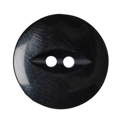 Round Fish Eye Button 2 Hole - Black - 19mm / 30L