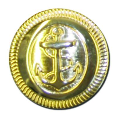 Round Gold Metal Anchor Button - 23mm / 36L
