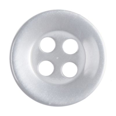 Round Shirt Button - 4 Hole - Pearl White - 11mm / 18L
