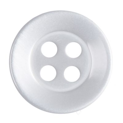 Round Shirt Button - 4 Hole - Pearl White - 14mm / 22L