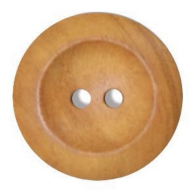 Round Olive Wood 2 Hole Button 25mm