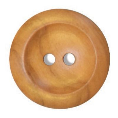 Round Olive Wood 2 Hole Button 28mm