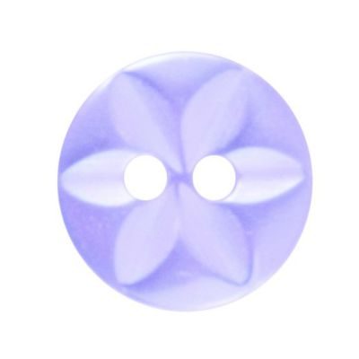 Round Polyester 2 Hole Star Button - Lilac - 11mm / 18L