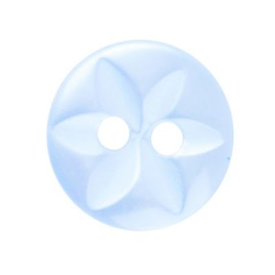 Round Polyester Pale Blue Star Button 2 Hole 11mm