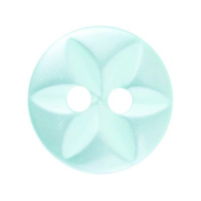 Round Polyester 2 Hole Star Button - Green - 11mm / 18L