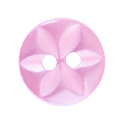 Round Polyester 2 Hole Star Button - Pink - 11mm / 18L